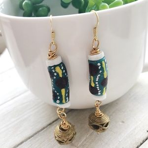 African Krobo and Brass Beaded Earrings